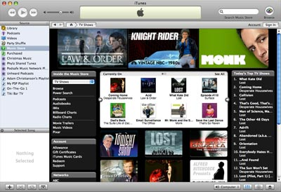 itunes tv section